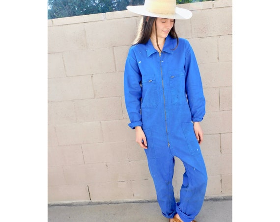 French Chore Coveralls // vintage 70s denim jumpsuit dungarees workwear overalls boho hippie work wear dress painters // O/S