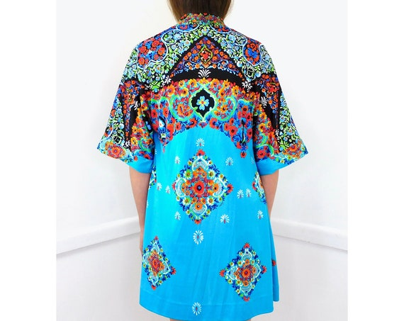 Spring Kimono Blouse // vintage dress boho hippie jacket blouse tunic hippy 70s 1970s bathing suit cover // O/S