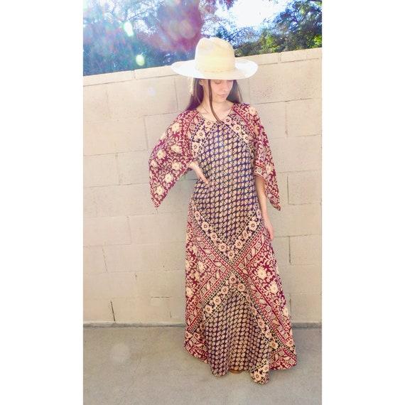 Indian Maxi Dress // vintage boho hand blocked cot
