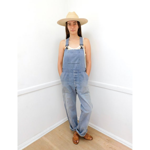 German Chore Overalls // vintage 70s denim boho hippie jeans pants dress work wear jumpsuit workwear patched patches distressed // O/S