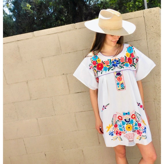 Ana Blouse  vintage boho 70s 1970s hand embroidered cotton dress hippie hippy purple Mexican  OS