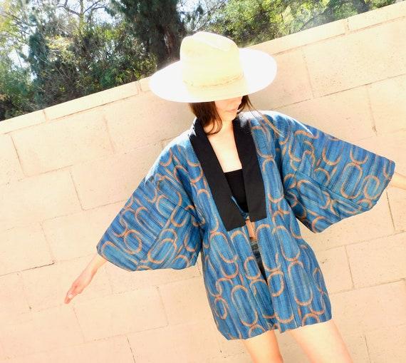 Quilted Kimono Jacket // vintage dress boho hippie tunic blouse blue blouse // O/S