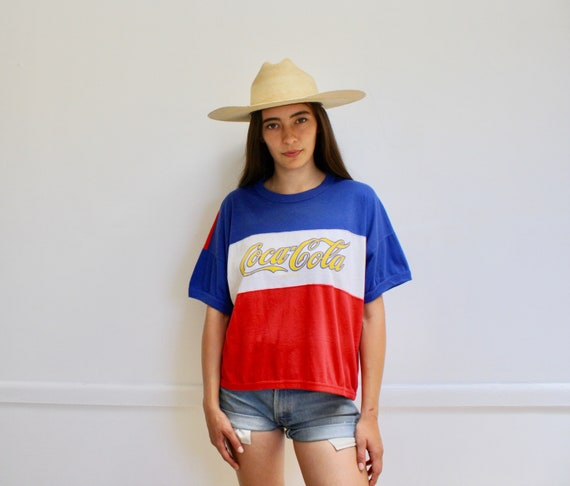Coca-Cola Tee // vintage 70s Cocacola t-shirt boho hippie hipster Coca Cola t shirt dress cotton 80s Coke blouse top white blue red // O/S