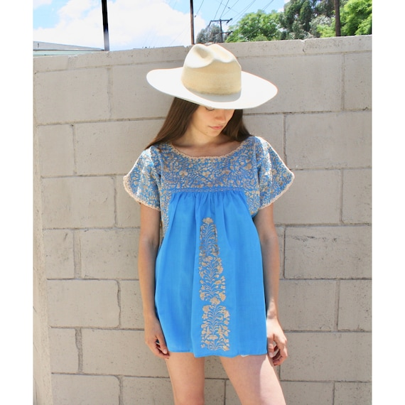 Oaxacan Blouse // vintage 70s Mexican hand embroidered dress 1970s boho hippie cotton hippy hippie blue // O/S