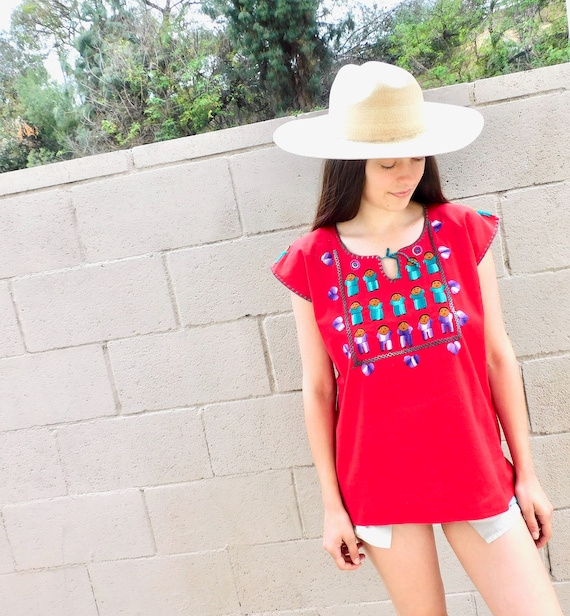 Hand Embroidered Blouse // vintage cotton boho hippie Mexican embroidered dress hippy red // O/S