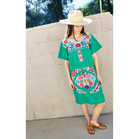 Bluebird Dress // vintage 70s sun Mexican hand embroidered floral midi 1970s boho hippie cotton hippy green // O/S