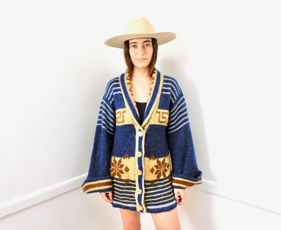 A-Frame Cabin Cardigan Sweater // vintage 70s knit hippie dress blouse hippy 1970s tunic space dye navy blue // O/S