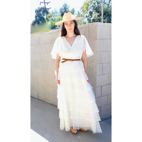 Tiered Lace Bridal Dress // vintage 70s boho hippie wedding 1970s hippy ivory white country waist high prairie Gunne Sax style maxi // O/S