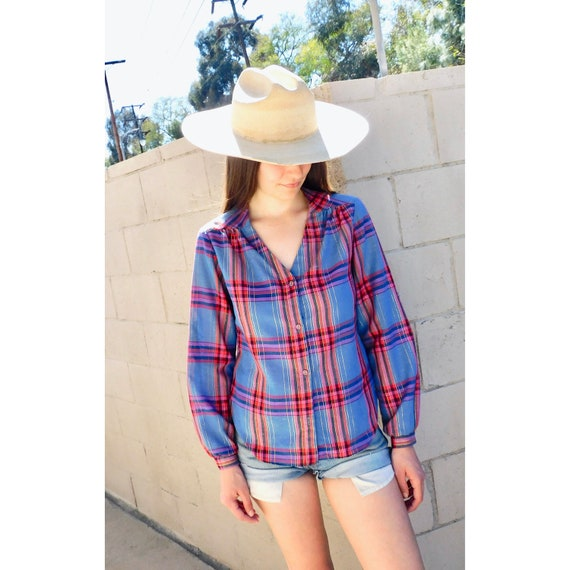 California Lurex Blouse // vintage 70s 80s dress boho hippie shirt plaid // S/M