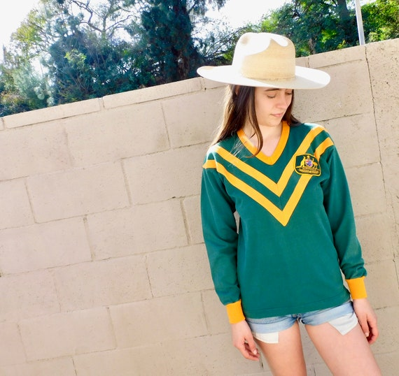 Australian Rugby Henley // vintage 70s shirt cotton dress green blouse jersey top kangaroo athletic t-shirt // S/M
