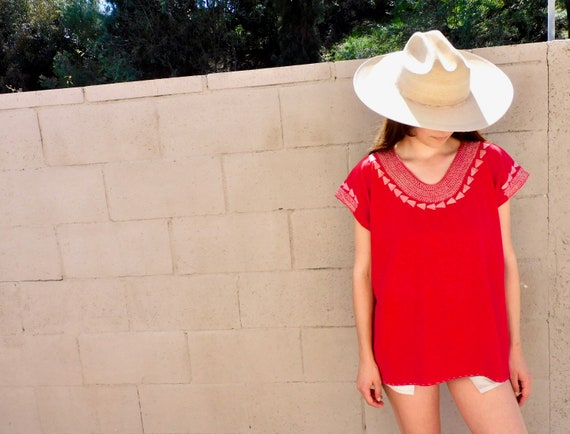 Saint Valentine Blouse // vintage 70s 1970s huipil red hand embroidered boho hippie hippy cotton Mexican // O/S