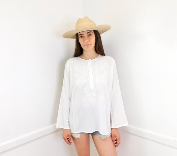 Indian Hand Embroidered Blouse // vintage 70s 80s white cotton boho hippie hippy tunic hand embroidered dress // O/S