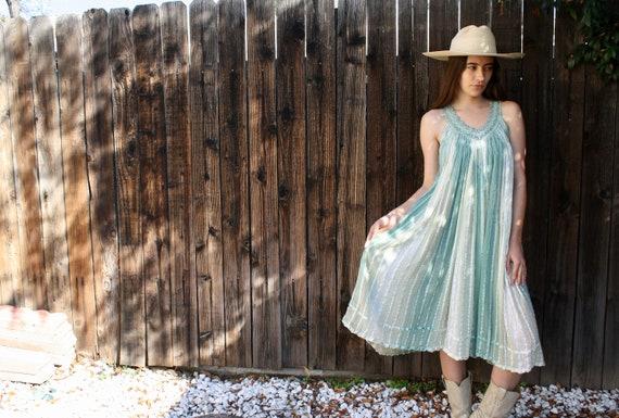 Ombre Gauze Dress // vintage 70s 1970s cotton boho hippie hippy Indian pastel white midi sun // O/S