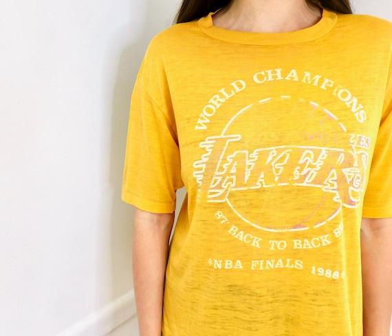 LA Lakers Back to Back Shirt // vintage Los Angeles World Champions 80s dress USA tee t-shirt 1987 t 87 88 1988 yellow paper thin // O/S
