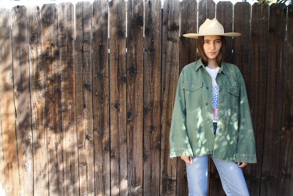 Marine Corps Shirt // vintage army green military boho hippie oversize hippy dress blouse top 70s jacket 1970s cotton corp // O/S