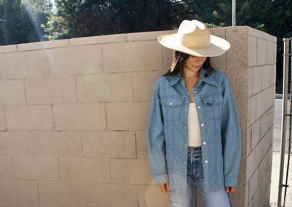 Lee Union Jean Jacket // vintage 70s denim 1970s boho western country cotton hippie shirt blouse dress USA // S/M