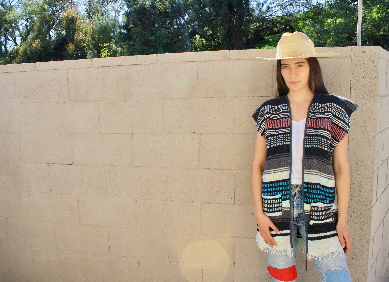 Baja Vest  vintage 70s woven Mexican blouse serape boho hippie knit blanket cotton hippy dress  SM