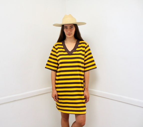 Vampire Weekend Tee // vintage t-shirt boho hippie yellow striped menswear t shirt dress ringer cotton blouse oversize 70s 80s mini // O/S