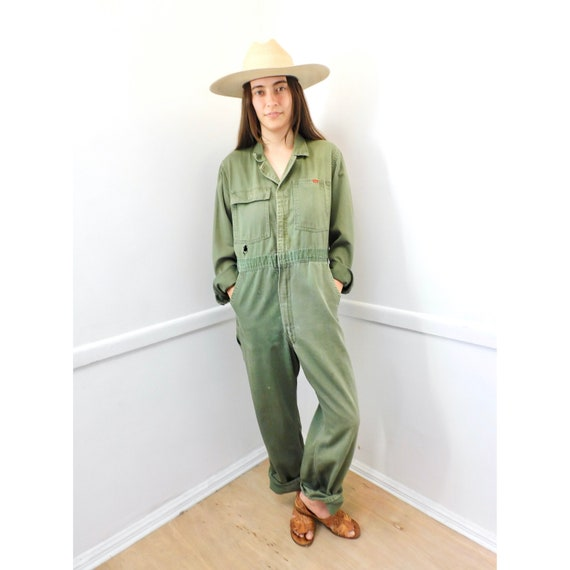 50s Big Smith Sanforized Coveralls // vintage overalls green army military jumpsuit boho hippie dress 1950s // O/S