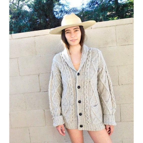 Irish Wool Cardigan // vintage handmade fisherman cable knit boho hippie dress blouse hippy sweater 80s Cowichan style grandpa // O/S