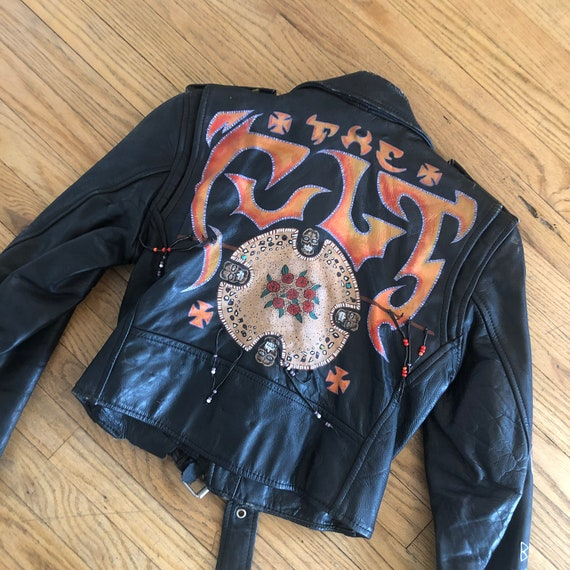 Hand Painted Motorcycle Jacket // vintage black cropped leather boho hippie hippy dress 70s 1970s // S Small