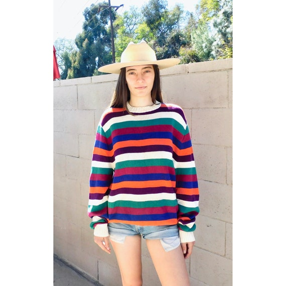 Lifesavers Sweater // vintage rainbow striped slouchy knit hippie dress blouse hippy 80s 90s // O/S