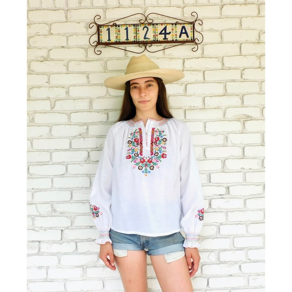 Hand Embroidered Blouse // vintage boho hippie hand embroidered dress hippy tunic white dress // O/S