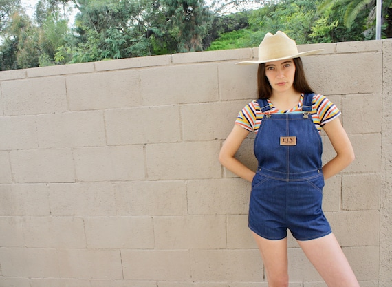Ely Overalls // vintage 70s denim romper jean jumpsuit high waist boho hippie jeans shorts dress overall 1970s // S Small