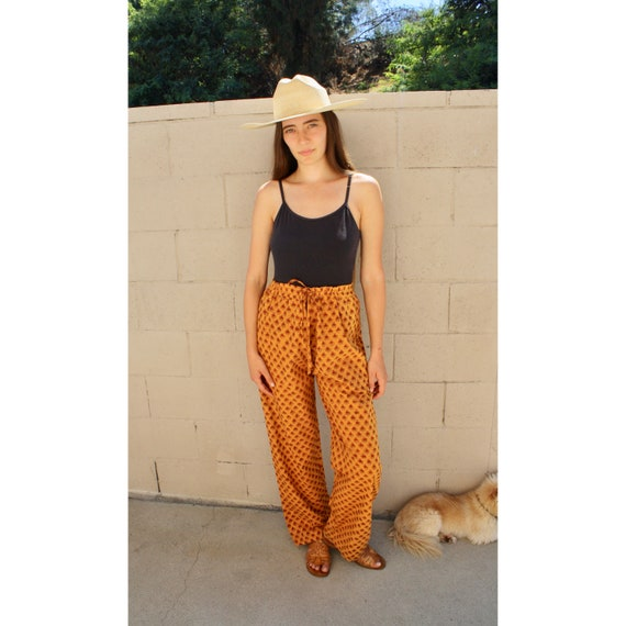 Indian Saffron Pants // vintage boho hippie 70s handwoven cotton dress hippy 1970s // O/S
