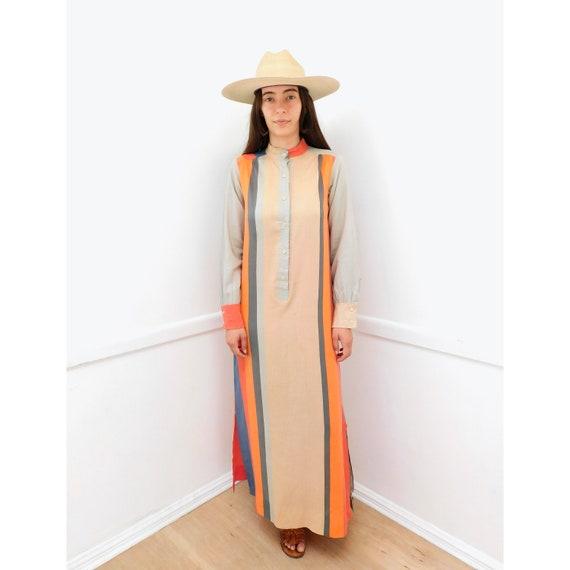 Color Block Dress // vintage 70s maxi shirt 1970s boho hippie cotton hippy // S/M