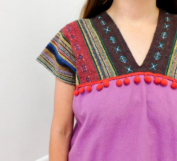 Woven Tunic // vintage 70s dress blouse boho hipp… - image 2