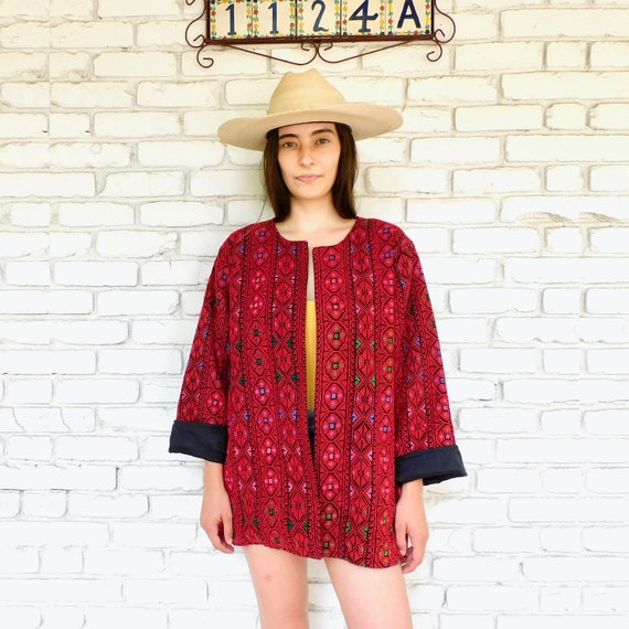 Hand Embroidered Jacket // vintage 70s embroidered dress blouse boho hippie cotton Guatemalan 1970s hippy red Mexican // O/S