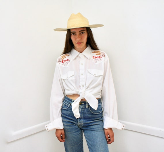 Coors Embroidered Waterfall Shirt // vintage 70s boho white river tee t-shirt t dress beer western blouse Coors' 80s shirt oversize // O/S