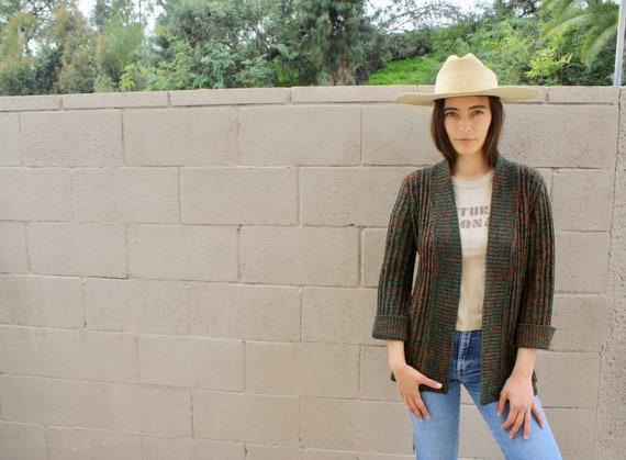 Flagstaff Cardigan // vintage 70s knit boho hippie dress blouse space dye hippy sweater 1970s // S/M