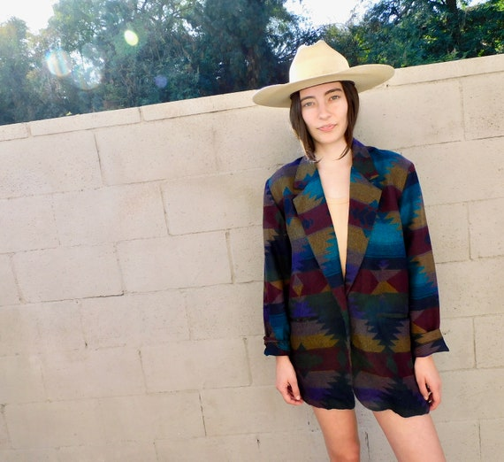 Serape Jacket // vintage dress boho hippie oversize blazer blouse 70s 80s southwestern southwest blanket lightweight // O/S