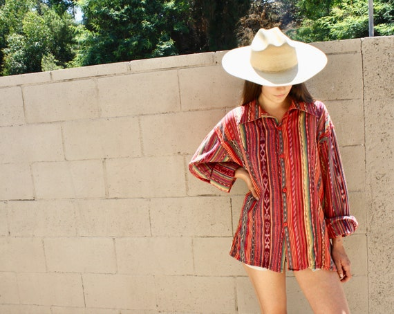 Serape Ikat Blouse // vintage red dress top shirt boho hippie woven tunic cotton Mexican Guatemalan 70s 80s // O/S
