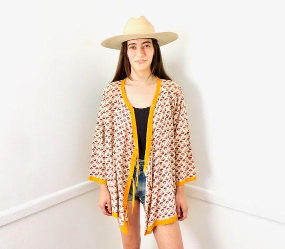 Indian Wrap Blouse // vintage 70s dress tunic boho hippie hippy 1970s cotton // O/S