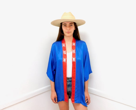 Silk Dragon Kimono // vintage 70s 1970s dress boho