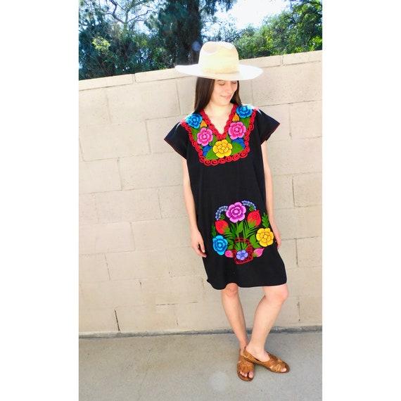 80s Mod Embellished Asymmetrical Black Beaded Dress XS Hippie Boho Mini