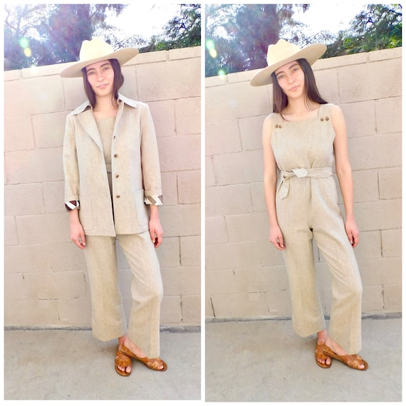 Jumpsuit Set // vintage wool blazer blouse hippy b