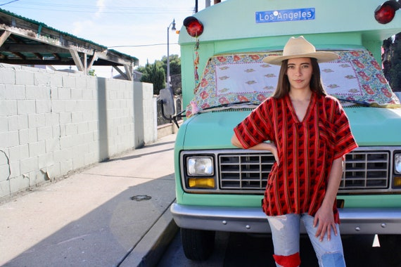 Mija Blouse // vintage hippy oversize dress top shirt boho hippie woven tunic red Mexican // O/S