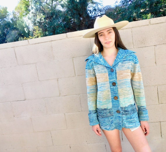 Space Dye Cardigan Sweater // vintage 70s knit hippie dress blouse hippy 1970s grandpa grunge // S/M