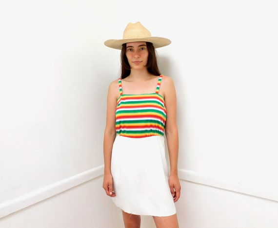 Rainbow Dress // vintage 70s boho hippie high waist hippy white rainbow 1970s // S Small