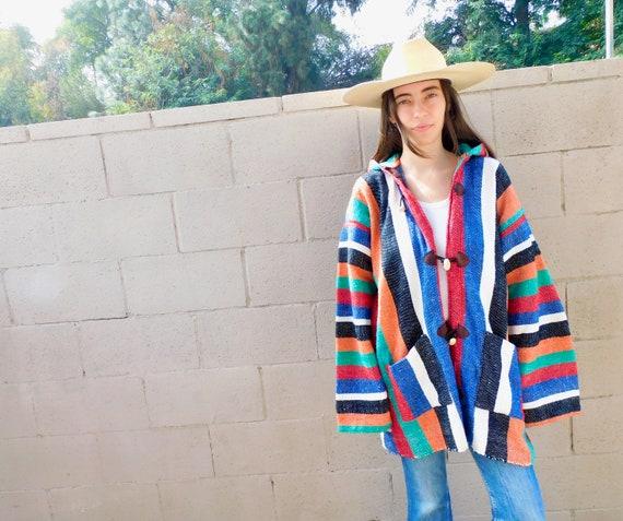 Mexican Blanket Jacket // vintage southwestern hooded hood 70s 1970s hippy hippie dress blouse southwest serape // O/S