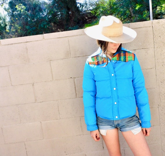 Down Puffer Jacket // vintage boho hippie blue plaid hippy coat dress ski snow 80s 70s 1970s blue // S/M