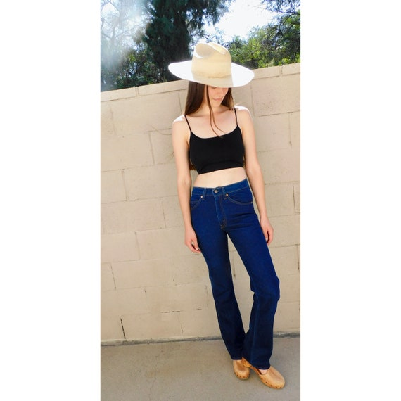 USA Levi's 517 Stretch Jeans // vintage 70s Levis denim boho hippie dark wash 28 X 34 long inseam hippy 80s 1970s Levi // 25