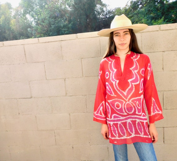 Indian Gauze Blouse // vintage dress boho hippie tunic cotton India 70s 1970s // S Small