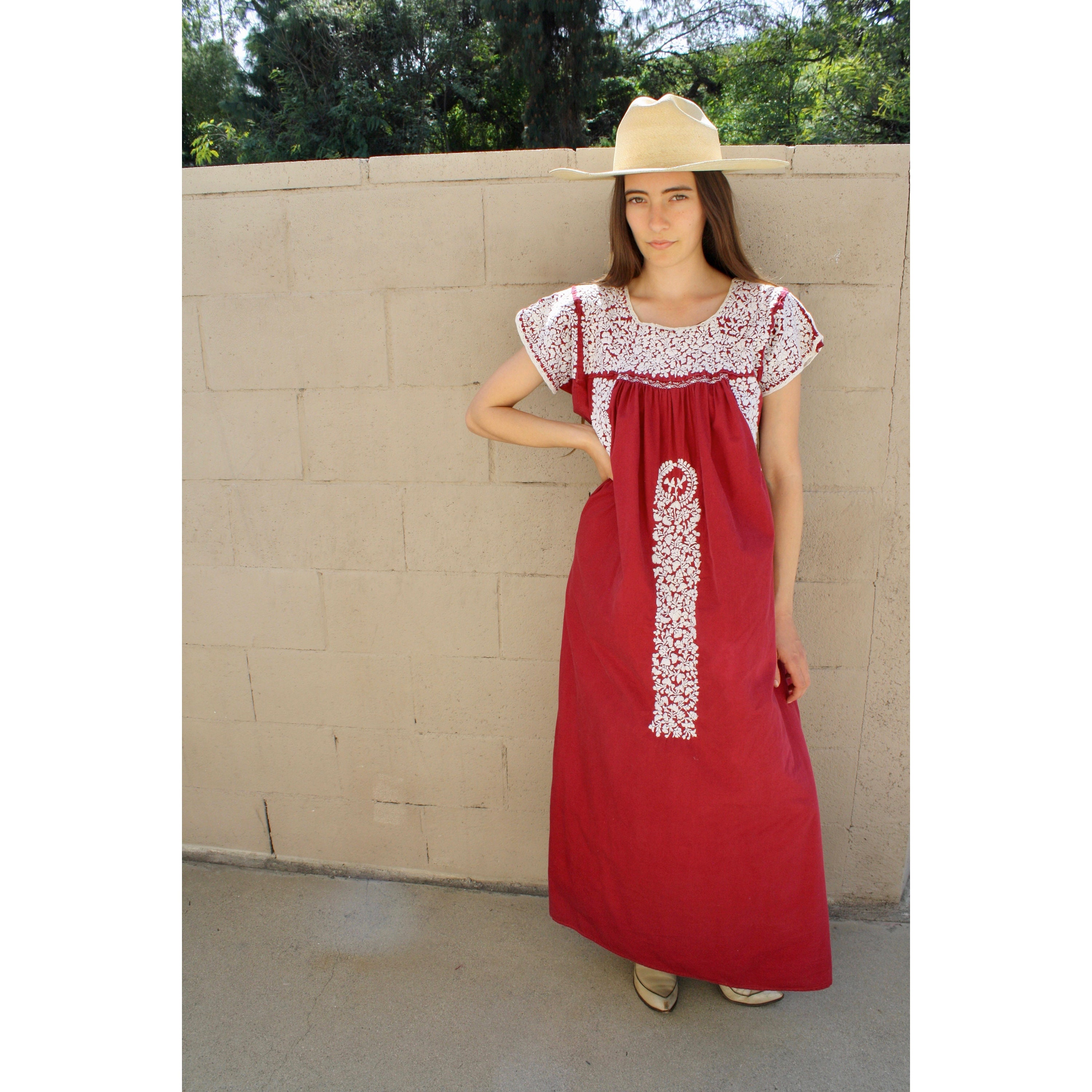 98cb8ba00aa Oaxacan Dress // vintage 70s sun Mexican hand embroidered floral maxi 1970s  boho hippie cotton hippy brown // O/S