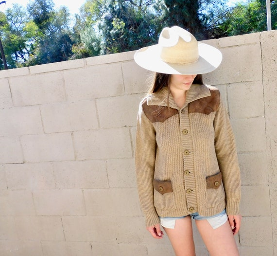 Midnight Cowboy Cardigan // vintage boho hippie dress blouse hippy sweater 70s 1970s beige brown grandpa suede country western grunge // S/M