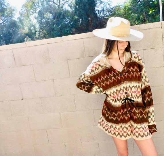 Crochet Jacket // vintage 70s woven embroidered dress blouse boho hippie 1970s hippy brown knit // O/S
